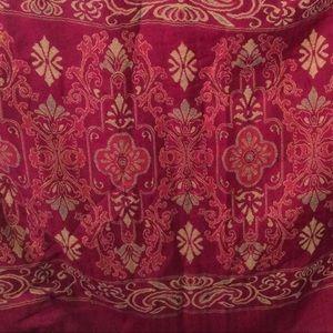 Pink and Tan Rectangular Wrap Scarf w/ Fringe